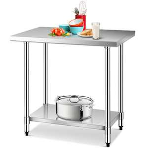 Gymax 24'' x 36'' Stainless Steel Food Prep & Work Table Commercial Kitchen Worktable