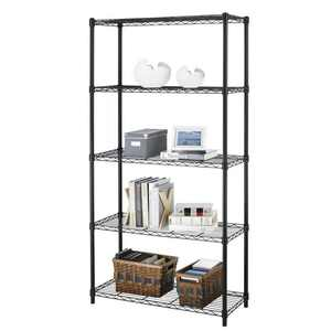 Ktaxon 5-Tier Wire Rack Shelf Adjustable Unit Garage Kitchen Storage Organizer Black