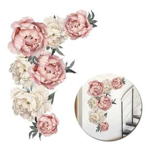 Flowers Wall Sticker Peony Rose, Waterproof PVC Wall Decals Flowers for Sofa Background Living Room Bedroom Kitchen Nursery Room Decorations