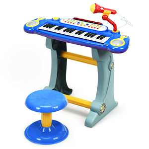Gymax 37 Key Electronic Keyboard Kids Toy Piano MP3 Input w/ Microphone & Stool Blue