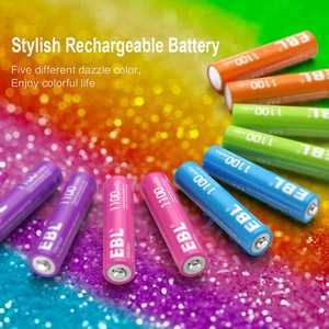 EBL 10-Pack 1100mAh AAA Rechargeable Batteries New Rainbow Deep Cycle Ni-MH Battery