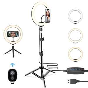 """10.2"""" LED Selfie Ring Light W/ Extendable Tripod Stand & Cell Phone Holder, 10 Brightness Level, 3 Light Modes for Live Streaming & YouTube Video, Photography, Shooting, Dimmable Makeup Ringlight"""