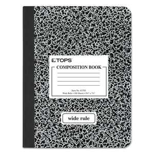 Oxford Composition Book, 9-3/4 x 7-1/2, Wide Rule, Black Marble, 100 Sheets