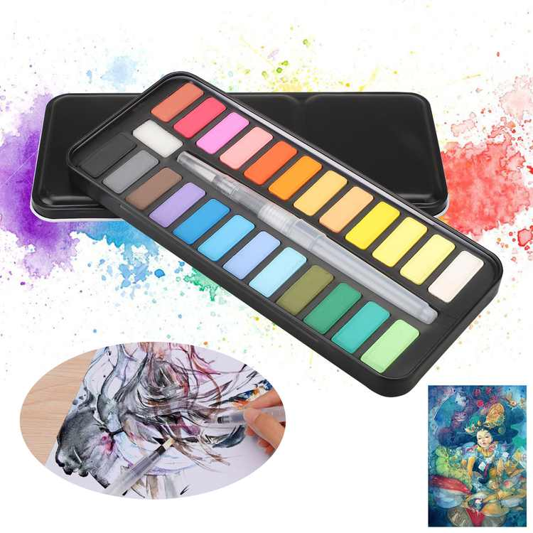 TSV Watercolor Paint Set, 24 Vivid Colors in Metal Box with Bonus Watercolor Brush, Travel Watercolor Kit Perfect for Students, Kids, Beginners & More