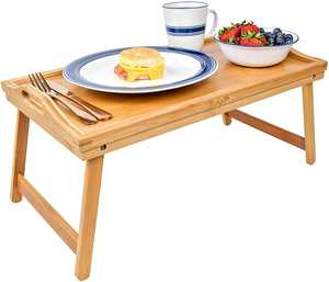 Foldable Breakfast Tray| Large Organic Bamboo Folding Serving Tray, Laptop Desk, Bed Table, Lap Desk| Natural and Eco-Friendly Tray with Handles and Legs
