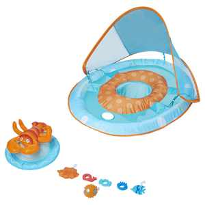 SwimWays Baby Spring Float Activity Center with Canopy, Blue/Orange Lobster