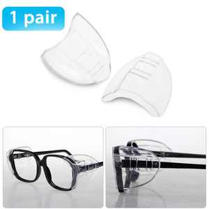 One Pair Slip On Clear Side Shields for Safety Glasses, Safety Glasses Side Shields, Fits Small/Medium/Large Eyeglasses