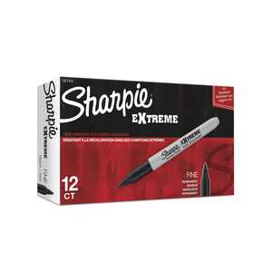 Sharpie Extreme Permanent Markers, Fine Point, Black, 12 Count