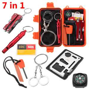 7 in 1 SOS Outdoor Survival Kit Multi-Purpose Emergency Equipment Supplies First Aid Survival Gear Tool Kits Package Box for Travel Hiking Camping Biking