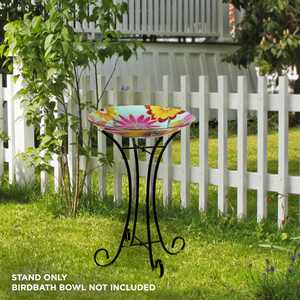 Alpine Corporation 25-Inch Foldable Metal Outdoor Bird Bath Stand, Black