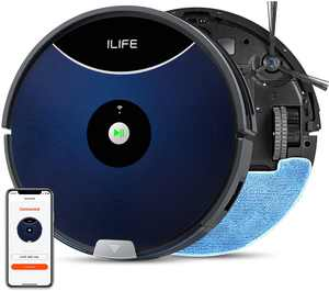 ILIFE A80 Max Robot Vacuum and Mop 2-in-1, 2000Pa, Wi-Fi, 2-in-1 Roller Brush, Ideal for Hard Floors to Medium-Pile Carpets