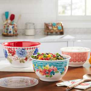The Pioneer Woman Classic Charm Melamine Bowl Set with Lids, 6 Piece
