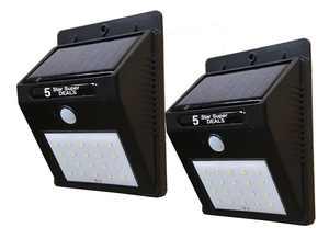 20 LED Outdoor Solar Powered Wireless Waterproof Security Motion Sensor Light - 2pc Set