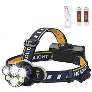 Rechargeable Headlamp, 6 LED Headlamp Flashlight 8 Modes USB Rechargeable Waterproof LED Head Lamp for Camping Outdoor Cycling Running Fishing, Adjustable Headlight for Kids and Adults