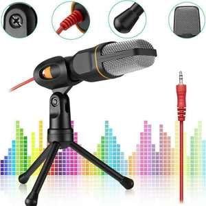 Professional Condenser Sound Podcast Studio Microphone with Tripod Stand For PC Laptop MSN Skype,Black