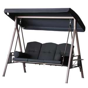 Outsunny Outdoor Patio 3-Person Steel Canopy Cushioned Seat Bench Swing with Included Side Trays & Padded Comfort, Black