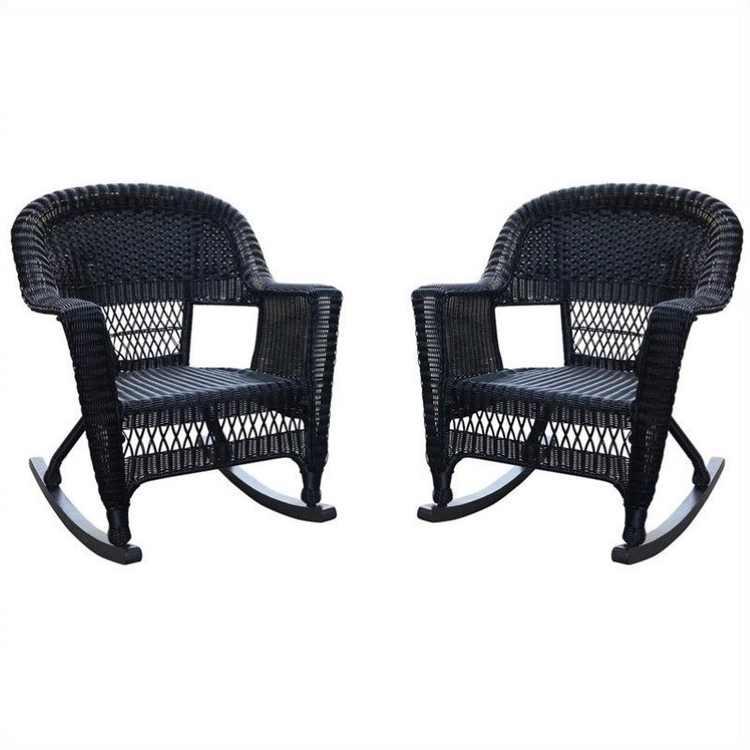 Pemberly Row Wicker Rocker Chair in Black (Set of 2)