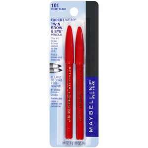 Maybelline Expert Eyes Twin Brow And Eye Pencils, Velvet Black [101], 2 ea
