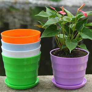 Iuhan 5PC Colourful Mini Plastic Flower Pot Succulent Plant Flowerpot Home Decor