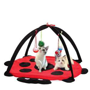 Pet Cat Toys Activity Folding Tent Exercise Play Soft Bed Mat With Hanging Toy