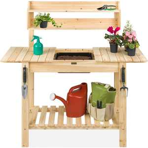 Best Choice Products Wood Garden Potting Bench Workstation Table w/ Sliding Tabletop, Food Grade Dry Sink - Natural