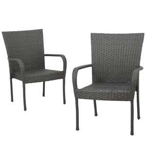 Noble House Outdoor PE Wicker Gray Stackable Club Chairs (Set of 2)