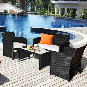 Costway 4PCS Outdoor Patio Rattan Furniture Conversation Set Cushioned Sofa Coffee Table