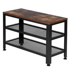 Ktaxon Industrial 3-Tier Shoe Bench Rack, Storage Organizer with Seat, Wood Look Accent Furniture