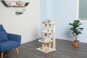 Go Pet Club 35-in Cat Tree & Condo Scratching Post Tower, Beige