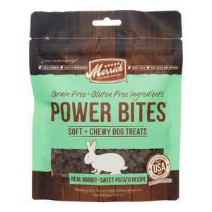 Merrick Power Bites Grain-Free Real Rabbit + Sweet Potato Recipe Chews Dog Treat, 6 oz