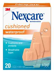 Nexcare Active Waterproof Cushioned Bandages, Assorted Sizes, 20 count