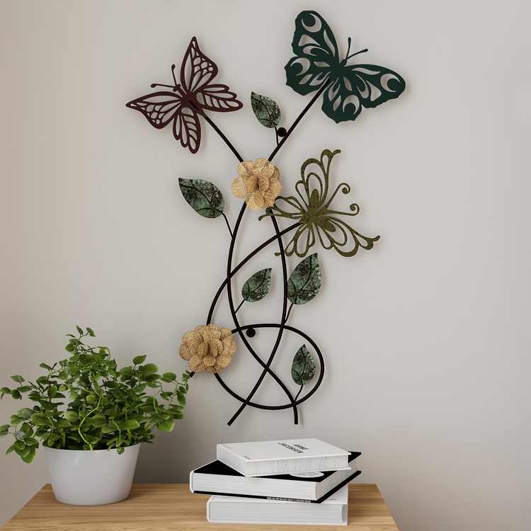 Garden Butterfly Metal Wall Art- Hand Painted Decorative 3D Butterflies/Flowers for Modern Farmhouse Rustic Home or Office Decor By Lavish Home