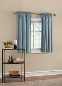 Mainstays Threaded Print Solid Color Rod Pocket Room Darkening Curtain Panel Pair, Set of 2, Teal, 30 x 54