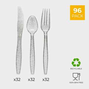 96-Pack Silver Glitter Plastic Silverware, Disposable Cutlery Utensils Set with Spoons, Forks and Knives for Birthday Parties & Events