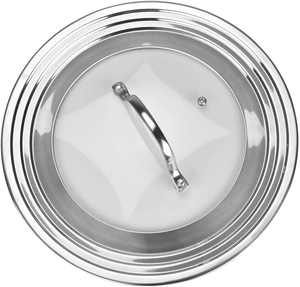 Universal Lid for Pots and Pans, Stainless Steel and Tempered Glass, Covers All 7 to 12 inch Pots