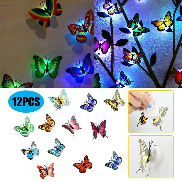 TSV 12PCS 3D Luminous Butterfly Wall Stickers Decor Art Decorations, LED Butterfly Wall Decals Removable DIY Home Decorations Art Decor Wall Stickers for Wall Decor Home Art Kids Room Bedroom Decor