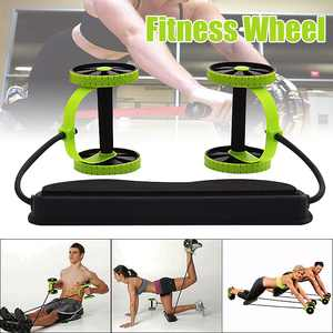 Double AB Roller Wheel Sport Core Fitness Abdominal Exercises Equipment Waist Slimming Trainer Abdominal Trainers Training Workout Machine at Home Gym