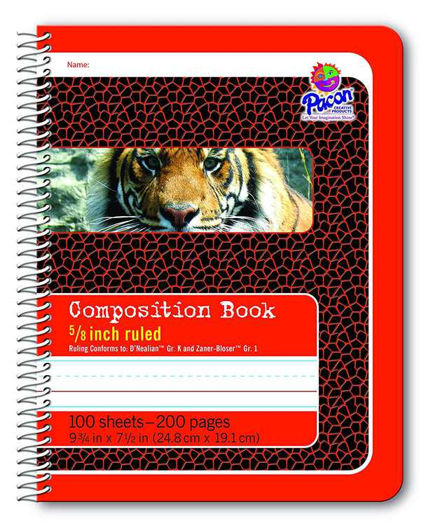 Primary Composition Spiral Book 5/8-in. Ruled, 100 Sheets, Red (2432), An ideal hardcover notebook with tiger red pattern By Pacon