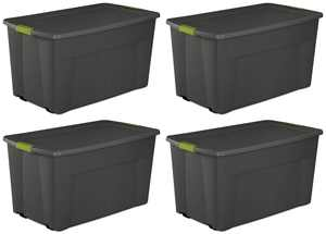 4 Pack) Sterilite 19481004 Large 45 Gallon Wheeled Latching Storage Tote Boxes