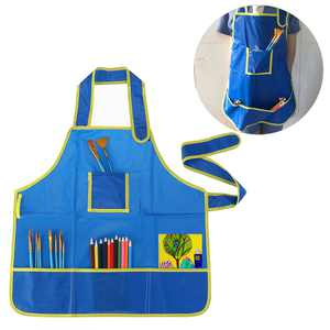 Children Kids Waterproof Art Craft Apron Smock for DIY Painting Drawing (Blue)