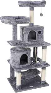 57-in Cat Tree & Condo Scratching Post Tower Furniture Kitten Activity Tower Kitty Play House