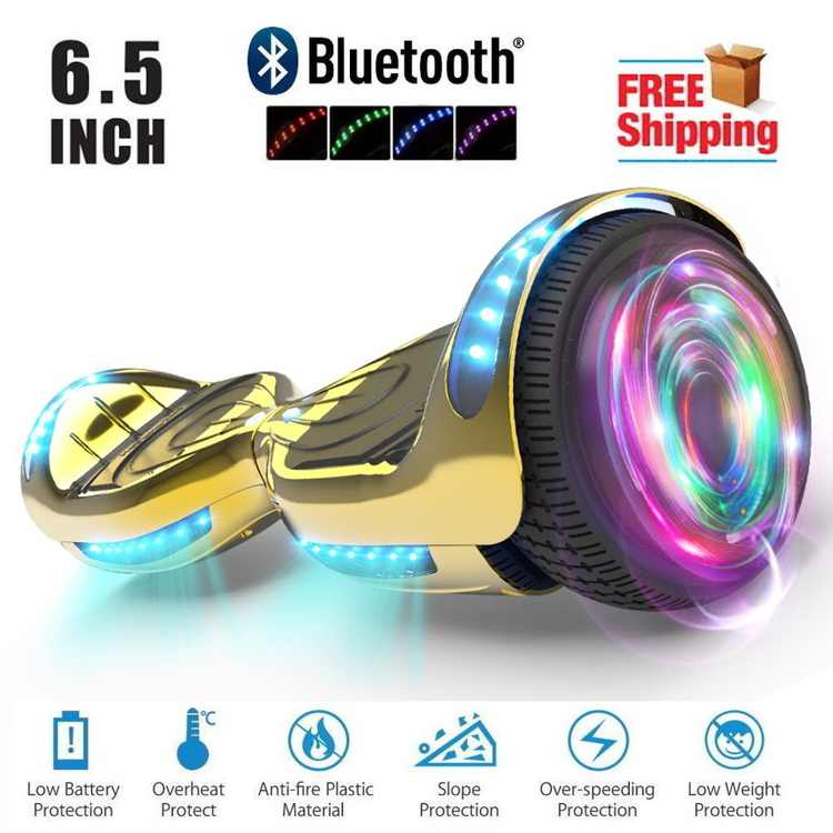 """Hoverboard 6.5""""  Listed Two-Wheel Self Balancing Electric Scooter with LED Flash Wheel Chrome Gold"""