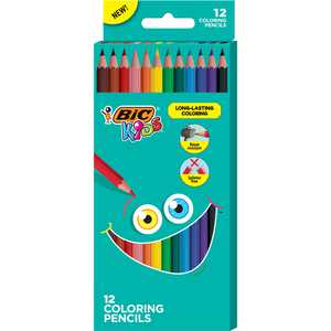 BIC Kids Coloring Pencils with Break-Resistant Lead, Assorted Colors -- Pack of 12 Colored Pencils