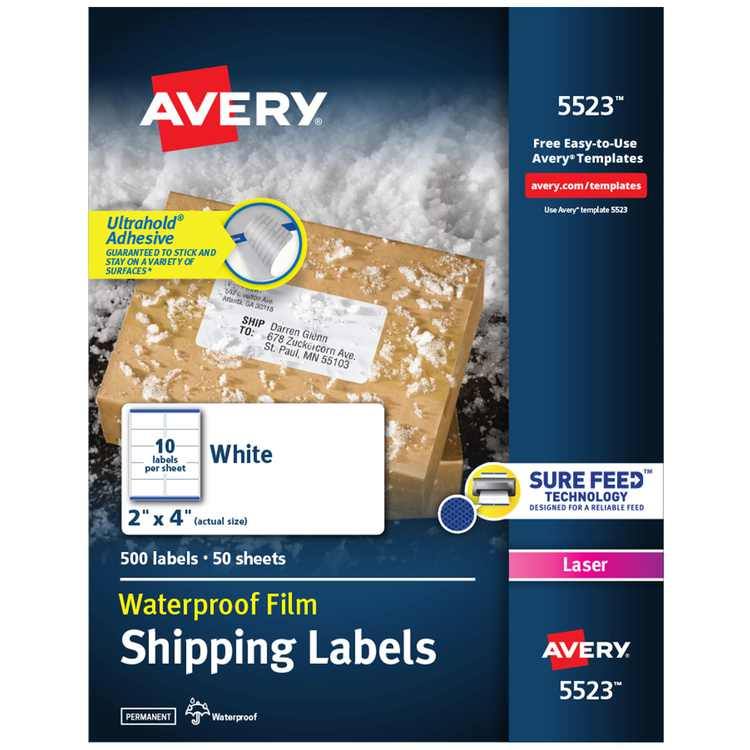 """Avery Waterproof Shipping Labels with Ultrahold Permanent Adhesive, 2"""" x 4"""", 500 Labels for Laser Printers (5523)"""
