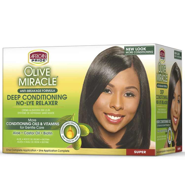 African Pride Olive Miracle Relaxer, No Lye, Conditioning Anti-Breakage, Super