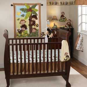 Bedtime Originals Curly Tails 4-Piece Crib Bedding Set - Brown, Green, Animals
