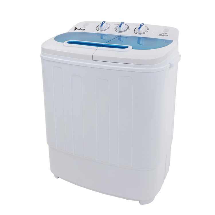 Ktaxon 13.4lbs Portable Mini Washing Machine Compact Twin Tub Wash 7.9LBS+Spin 5.5LBS Capacity Washer Spin DryerWhite & Blue