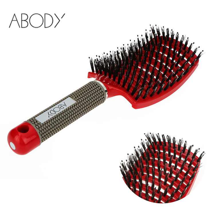 Abody Bristle & Nylon Detangle Hairbrush Hair Comb Women Hair Scalp Massage Comb Wet/Dry Hair Brush for Hairdressing Salon