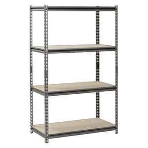 """Muscle Rack Silver-Vein 36""""W x 18""""D x 60""""H, 4-Shelf Steel Shelving"""