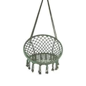 Equip Macrame Outdoor Hammock Chair, Cotton Blend Olive Green, Size47 L x 24 W, Capacity 250 lb.